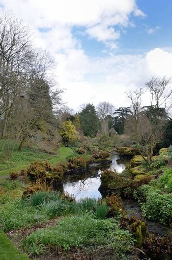 Stream in formal country garden