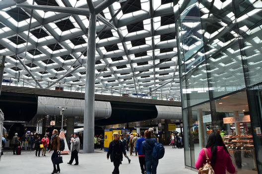 The Hague, Netherlands - May 8, 2015: Crowd at central Station of The Hague, Netherlands on May 8, 2015. The station is the largest railway station in The Hague.