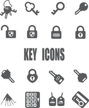 Key flat icon set - EPS 10 vector