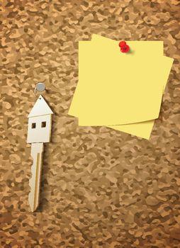 keys on cork board