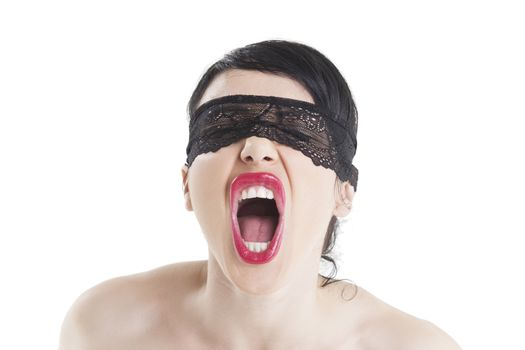 screaming woman with bound eyes