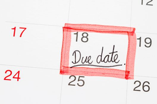 Due Date text on the calendar page.