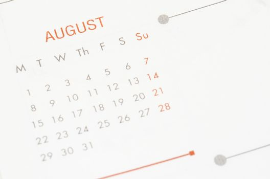 August on calendar page.