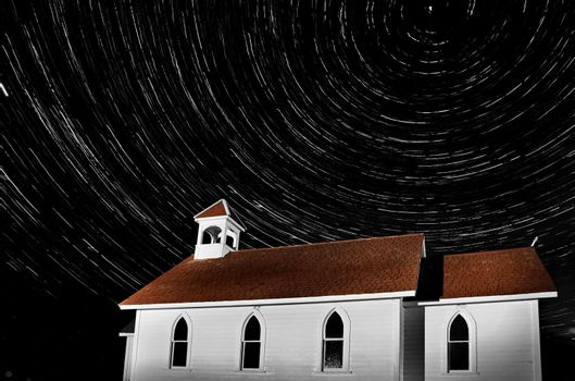 Church Night Shot Black and White