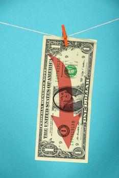 US dollar decline illustrated over blue