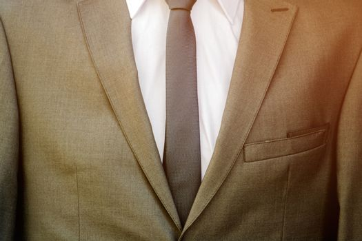 Modern business suit with white shirt and necktie
