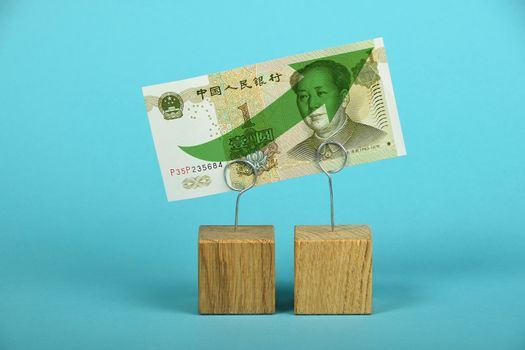 Chinese yuan growth illustrated over blue