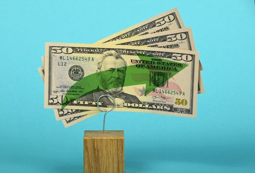 US dollar growth illustrated over blue