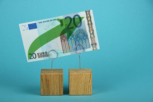 Euro growth illustrated over blue