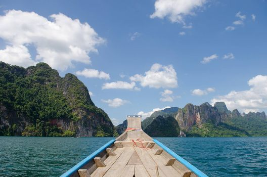 Beautiful mountains and river natural attractions in Ratchaprapha Dam at Khao Sok National Park, Surat Thani Province, Thailand