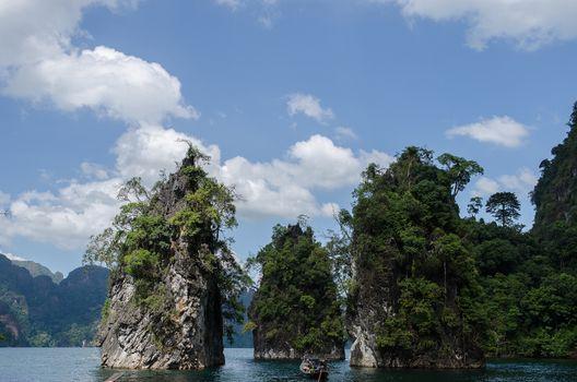Island water in Ratchaprapha Dam at Khao Sok National Park, Surat Thani Province, Thailand.