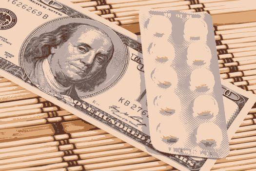 Pills and american money close-up background vector illustration