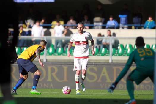 ITALY, Verona: Milan's forward Jeremy Menez (C) controls the ball during the Serie A match between FC Hellas Verona v AC Milan on April 25, 2016. Luca Siligardi scored on a late free kick to secure the win for his team in the 95th minute.