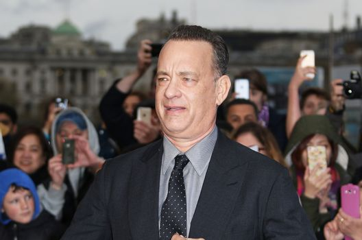 UK, London: Tom Hanks attends the UK Film Premiere of 'A Hologram for the King' at the BFI Southbank, in London on April 25, 2016.The film stars Tom Hanks, who plays a businessman on a trip to Saudi Arabia. Also in attendance at the premiere were Christy Meyer, Linzi Stoppard and Megan Maczko.