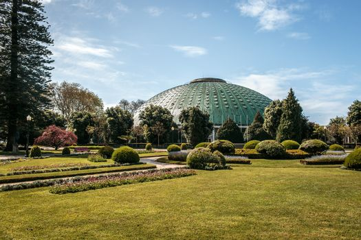The famous Crystal palace architecture in Porto