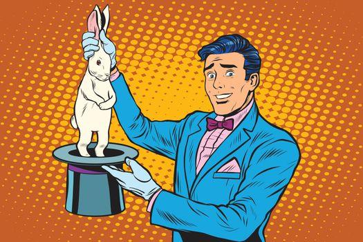 Magician trick rabbit