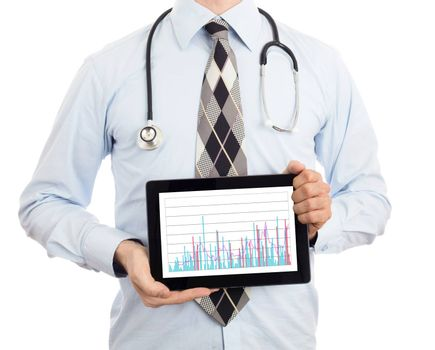 Doctor, isolated on white backgroun,  holding digital tablet - Graph