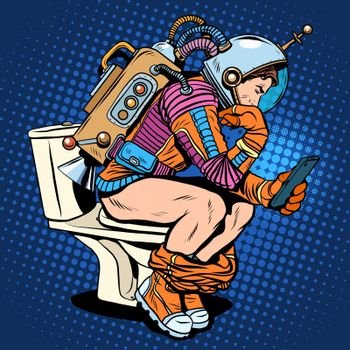Astronaut thinker on the toilet reading a smartphone