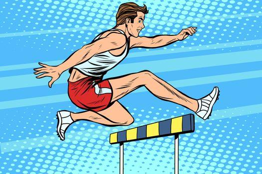 Man running hurdles athletics