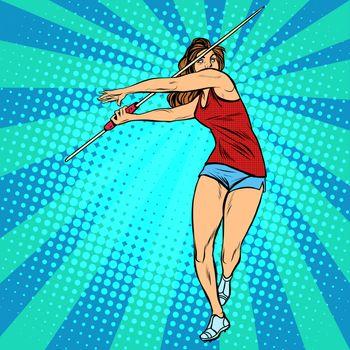 girl athlete throwing javelin, athletics summer games