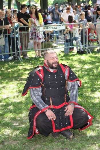 Man in medieval fighting clotthes waiting for his turn to demonstrate fighting at Belgrade Knight Fest held on 23 April in Belgrade,Serbia