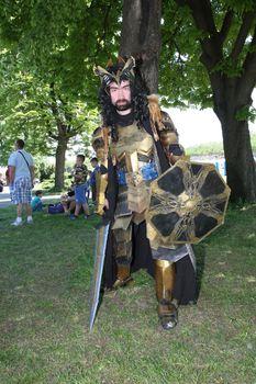 Participant of Belgrade Knight Fest held on 23 April in Belgrade,Serbia,posing in medieval armor