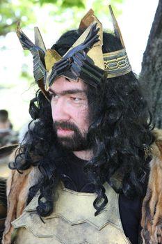 Portrait of participant of Belgrade Knight Fest held on 23 April in Belgrade,Serbia,posing in medieval armor