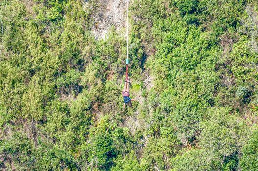 Female bungee jumper at Bloukrans Bridge
