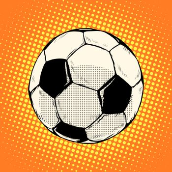 Soccer ball football pop art retro style. Sports equipment