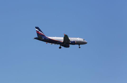 Airbus A319, registration VP-BWA of Aeroflot landing on Zagreb Airport Pleso