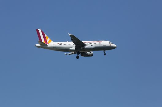 Airbus A319, registration D-AGWF of Germanwings landing on Zagreb Airport Pleso on June 10, 2015.