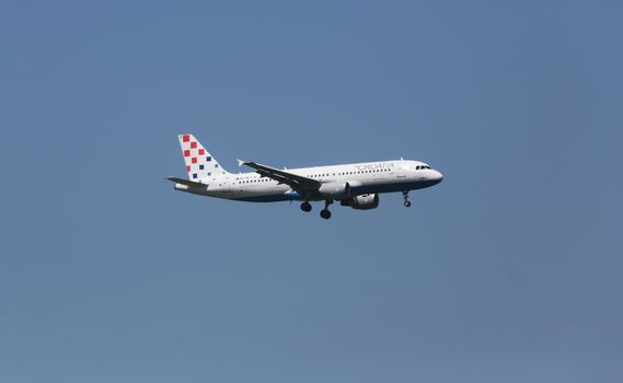 Airbus A320, registration 9A-CTK of Croatia Airlines landing on Zagreb Airport Pleso