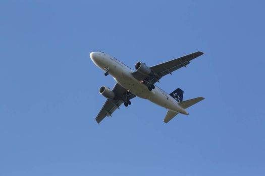 Airbus A319, registration 9A-CTI of Croatia Airlines landing on Zagreb Airport Pleso