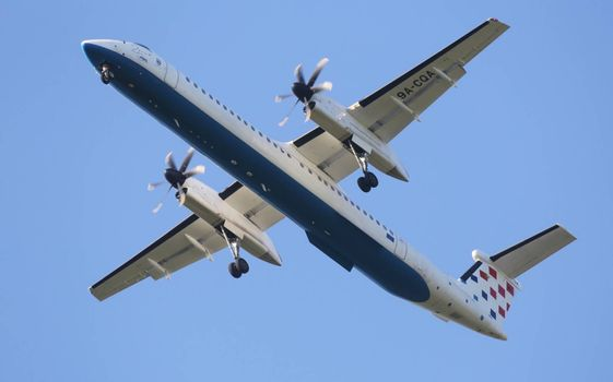 Bombardier DH8D, registration 9A-CQA of Croatia Airlines landing on Zagreb Airport Pleso