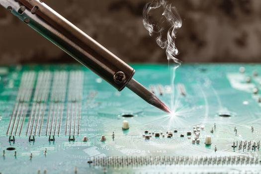 smoking soldering iron