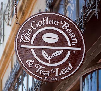 TA BARBARA, CA/USA - APRIL 30, 2016: The Coffee Bean & Tea Leaf exterior and logo. The Coffee Bean is an American coffee chain operated by International Coffee & Tea, LLC.