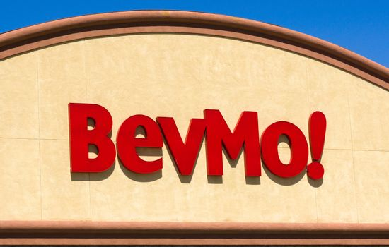 PALMDALE, CA/USA - APRIL 23, 2016: BevMo retail store and sign. BevMo is a superstore retailer of alcoholic beverages.