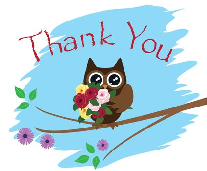 vector illustration of thank you card with owl