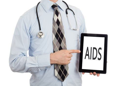 Doctor, isolated on white backgroun,  holding digital tablet - Aids