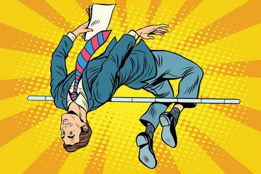 Businessman high jump