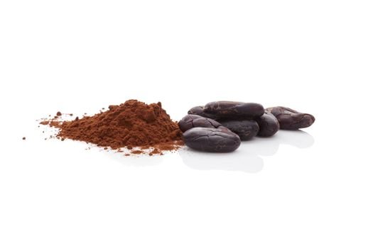 Cocoa beans and cocoa powder isolated on white background. Healthy superfood.