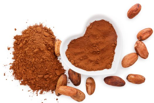 Cocoa beans and cocoa powder on white background, flat lay. Healthy superfood.