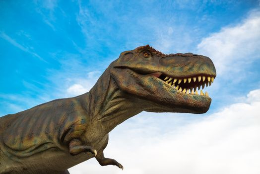 NOVI SAD, SERBIA - APRIL 28, 2016: Tyrannosaurus rex (T-Rex) life-size model of prehistoric animal in theme entertainment Dino Park in Novi Sad, Serbia. Tyrannosaurus rex was one of the largest land carnivores of all time.