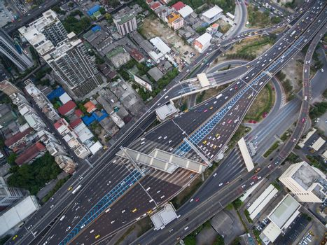 aerial view of traffic junction and transportation road in city,