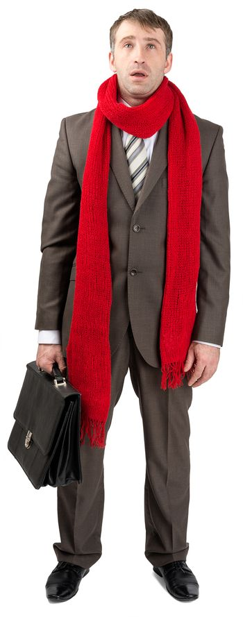 Businessman with sore throat