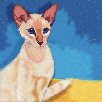 Oriental Shorthair Cat Illustration