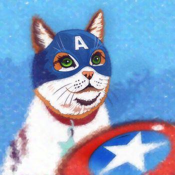 Cats superheroes. Captain America