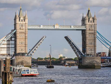 Opened Tower Bridge in London, United Kingdom