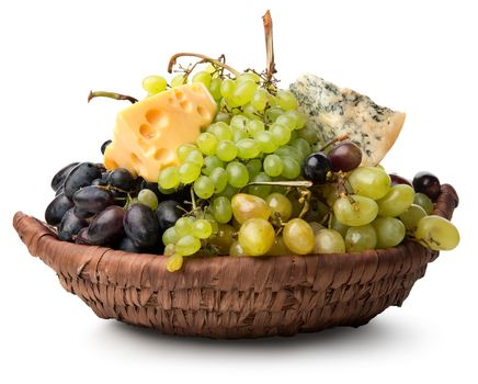 Cheese and grape in basket