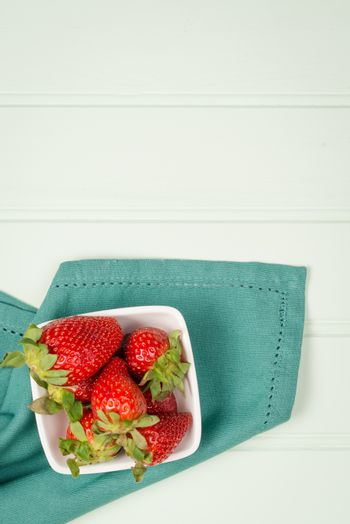 Appetizing strawberry in the bowl